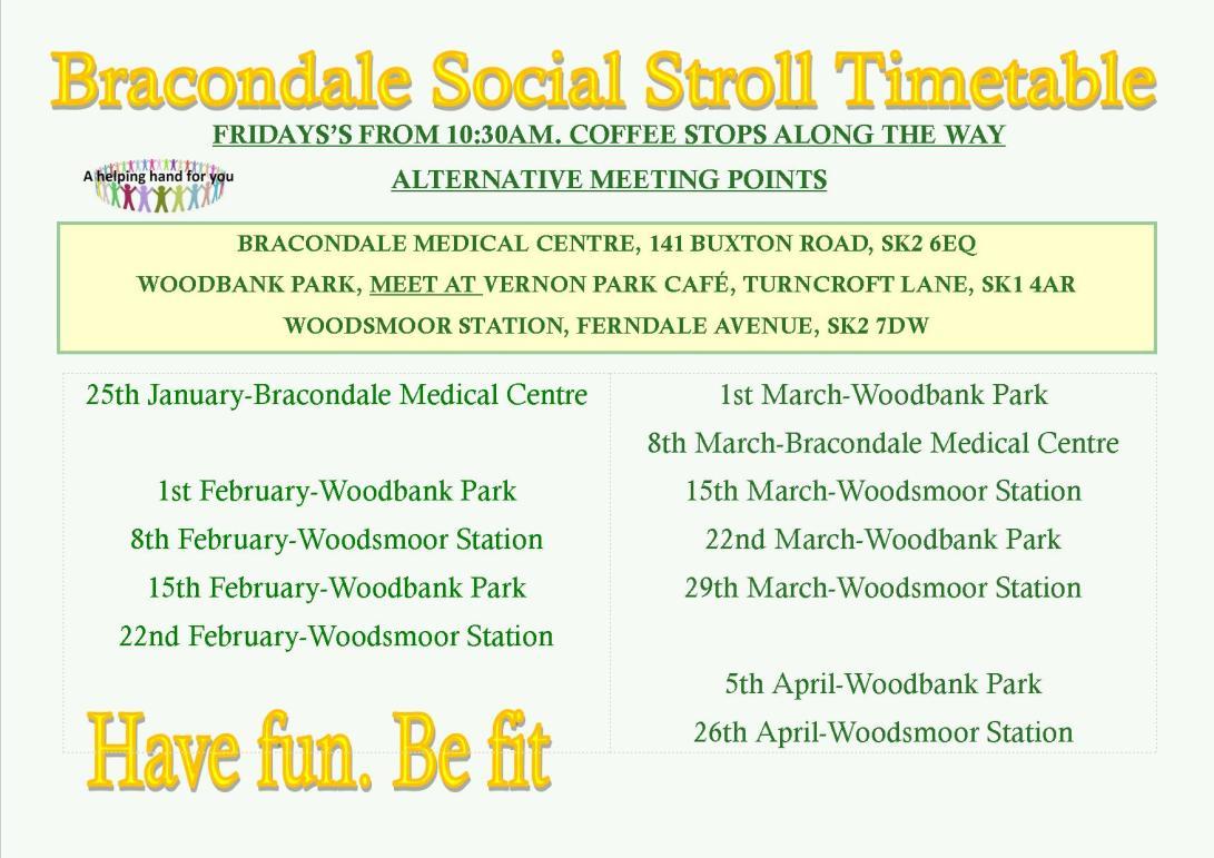 Bracondale Social Stroll timetable