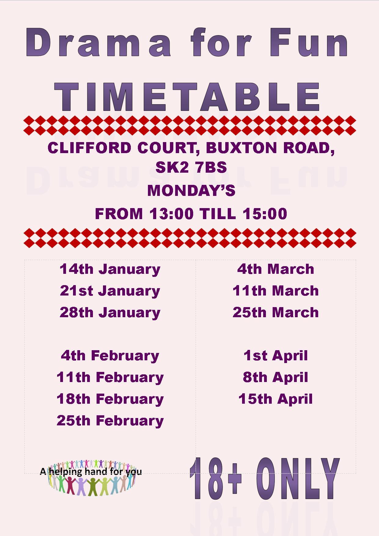 Drama for fun timetable